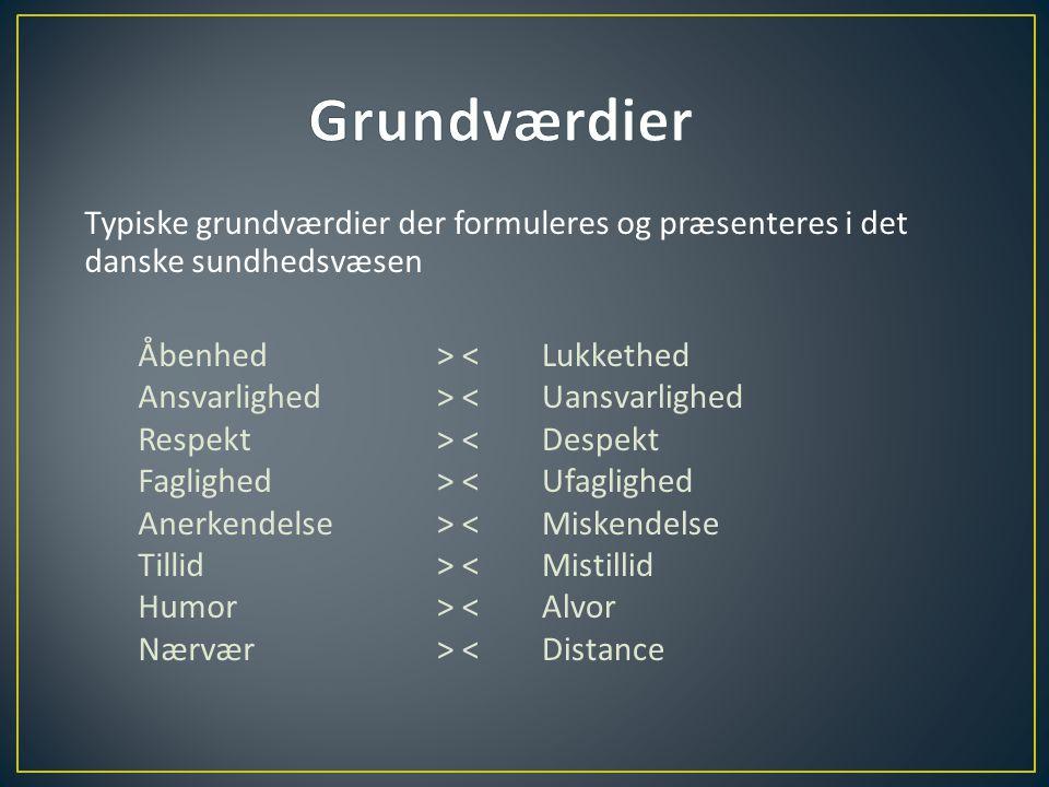 Grundværdier Typiske grundværdier der formuleres og præsenteres i det