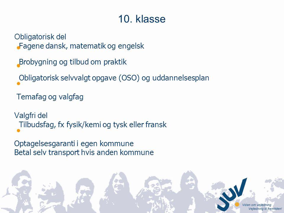 10. klasse Obligatorisk del Fagene dansk, matematik og engelsk