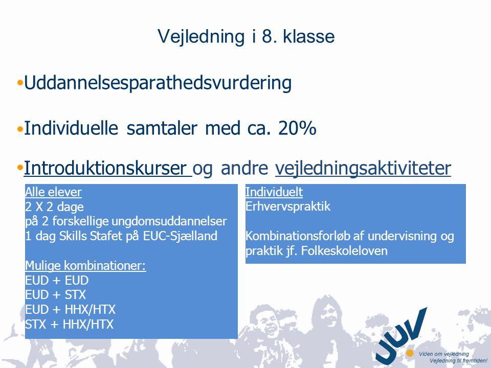 Uddannelsesparathedsvurdering Individuelle samtaler med ca. 20%