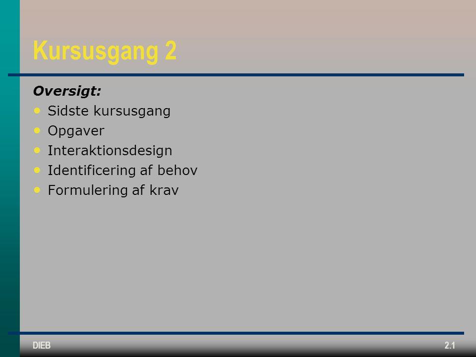 Kursusgang 2 Oversigt: Sidste kursusgang Opgaver Interaktionsdesign