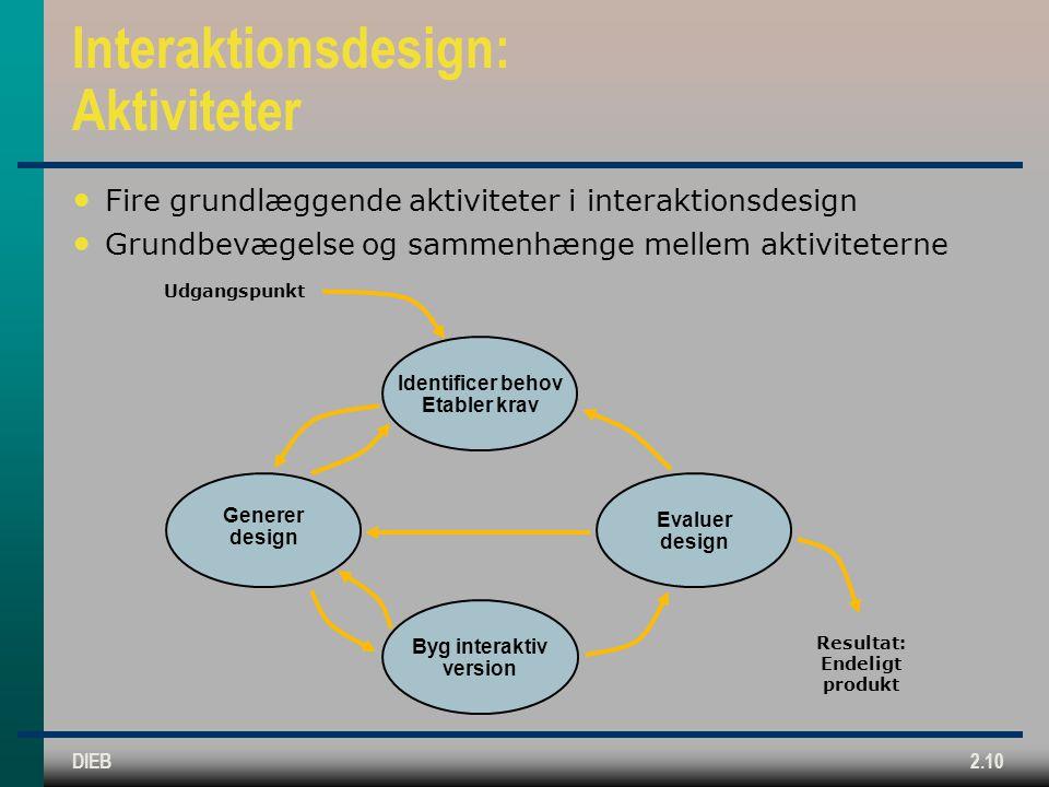 Interaktionsdesign: Aktiviteter