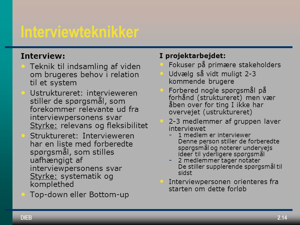 Interviewteknikker Interview: