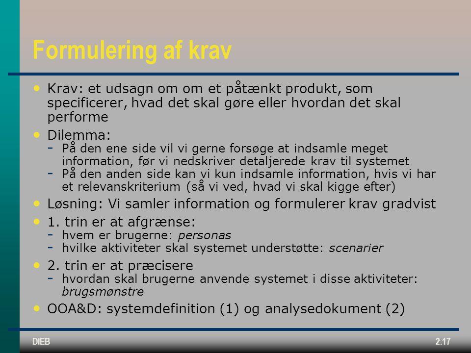 Formulering af krav Krav: et udsagn om om et påtænkt produkt, som specificerer, hvad det skal gøre eller hvordan det skal performe.