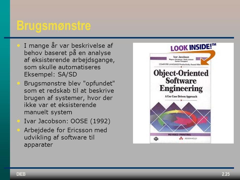 Brugsmønstre I mange år var beskrivelse af behov baseret på en analyse af eksisterende arbejdsgange, som skulle automatiseres Eksempel: SA/SD.