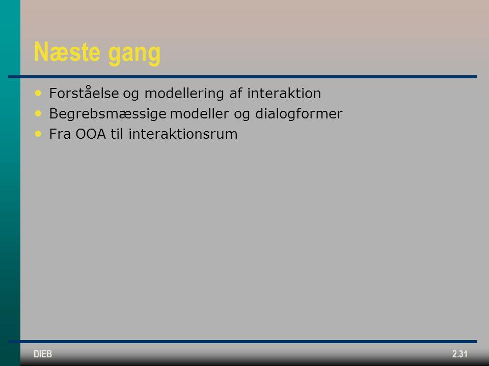 Næste gang Forståelse og modellering af interaktion