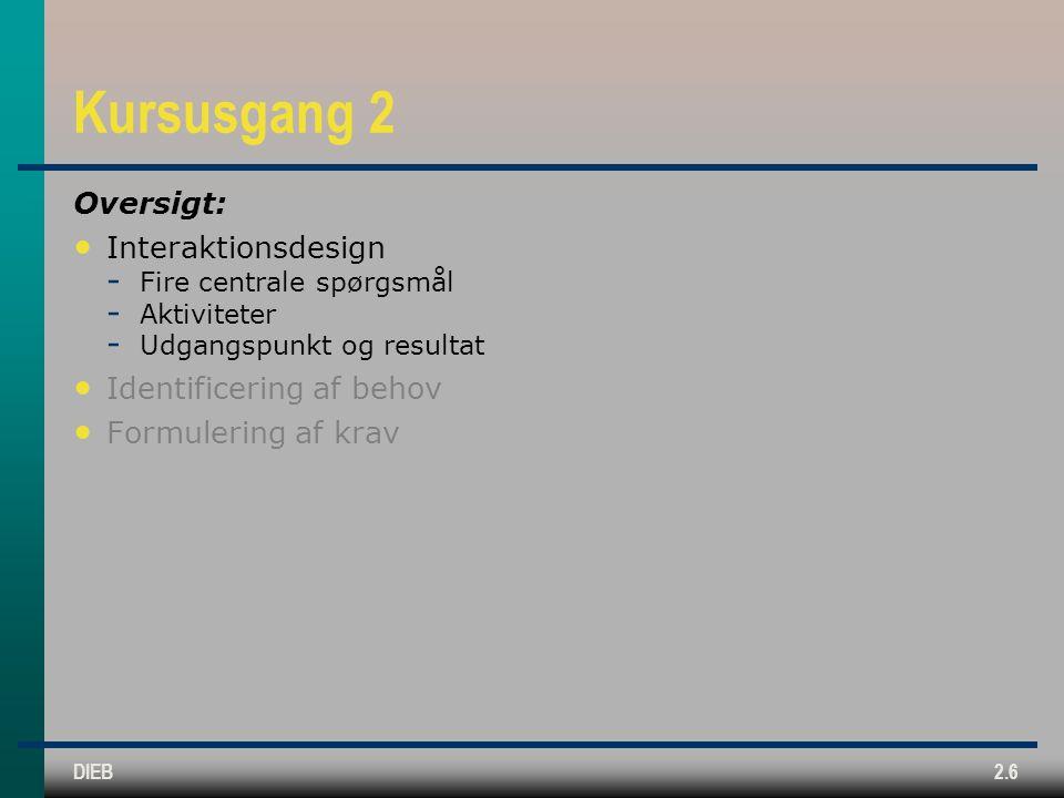 Kursusgang 2 Oversigt: Interaktionsdesign Identificering af behov