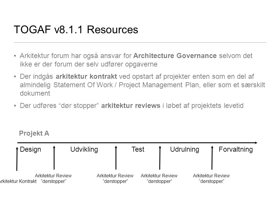 TOGAF v8.1.1 Resources Arkitektur forum har også ansvar for Architecture Governance selvom det ikke er der forum der selv udfører opgaverne.