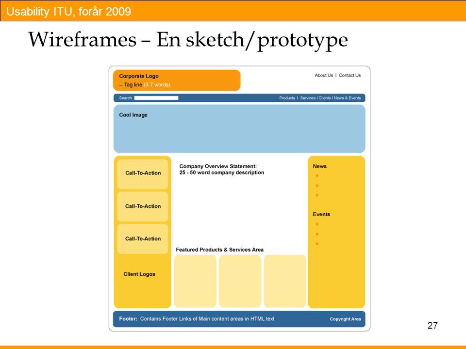 Wireframes – En sketch/prototype