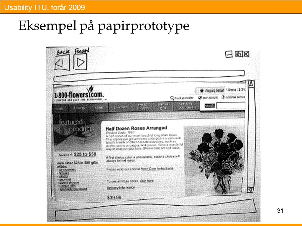Eksempel på papirprototype