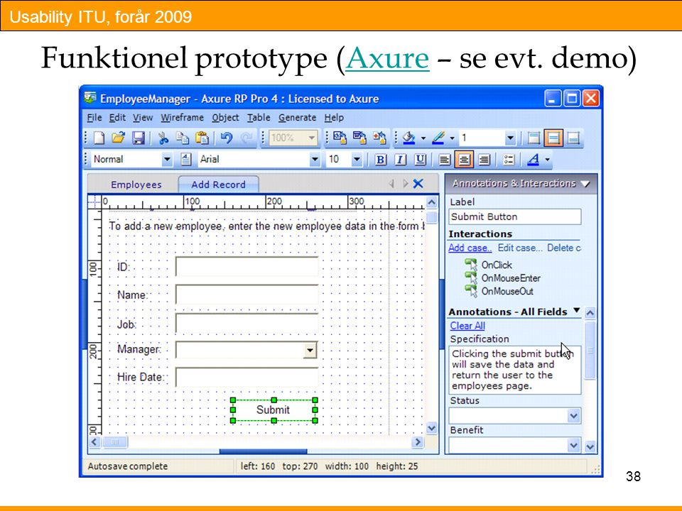 Funktionel prototype (Axure – se evt. demo)