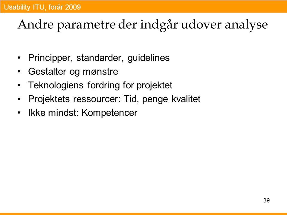 Andre parametre der indgår udover analyse