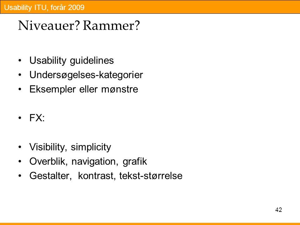 Niveauer Rammer Usability guidelines Undersøgelses-kategorier