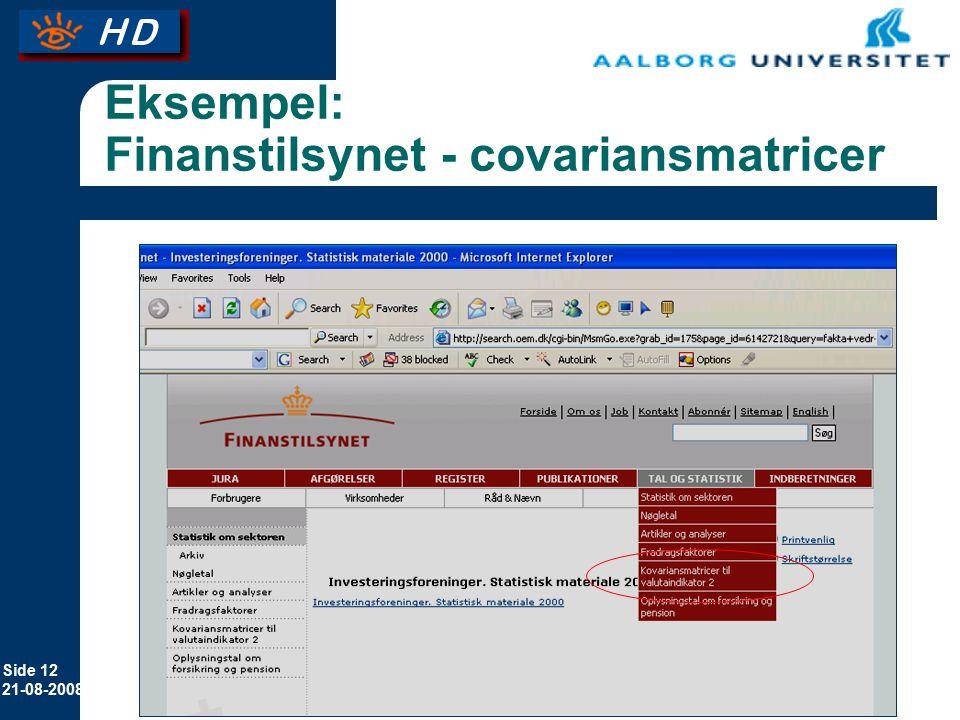Eksempel: Finanstilsynet - covariansmatricer