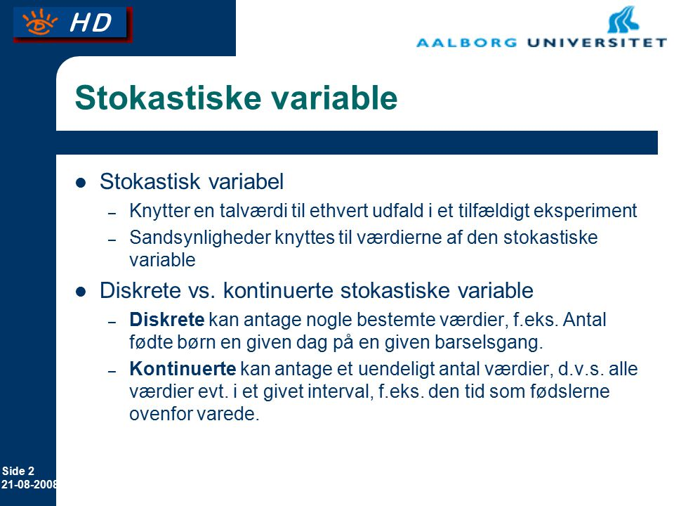 Stokastiske variable Stokastisk variabel