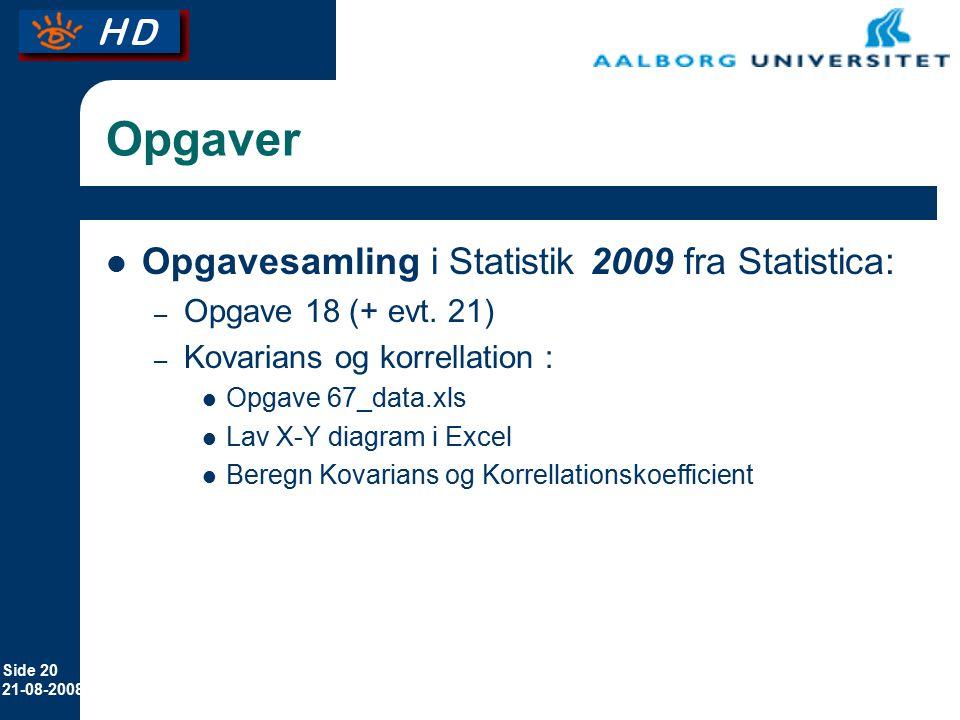 Opgaver Opgavesamling i Statistik 2009 fra Statistica: