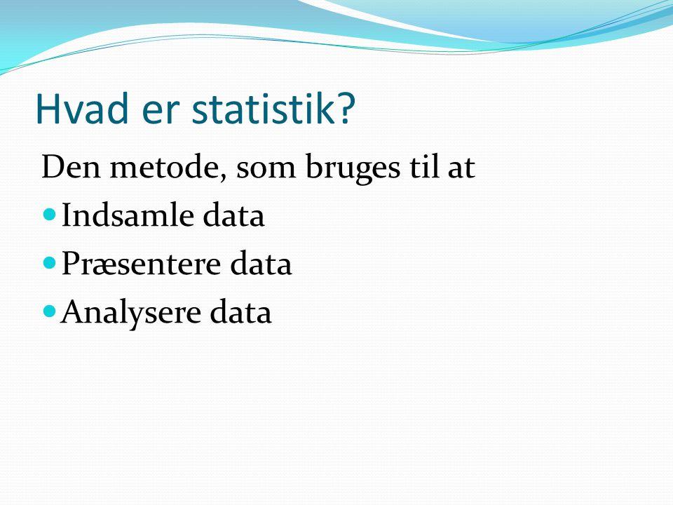 Hvad er statistik Den metode, som bruges til at Indsamle data