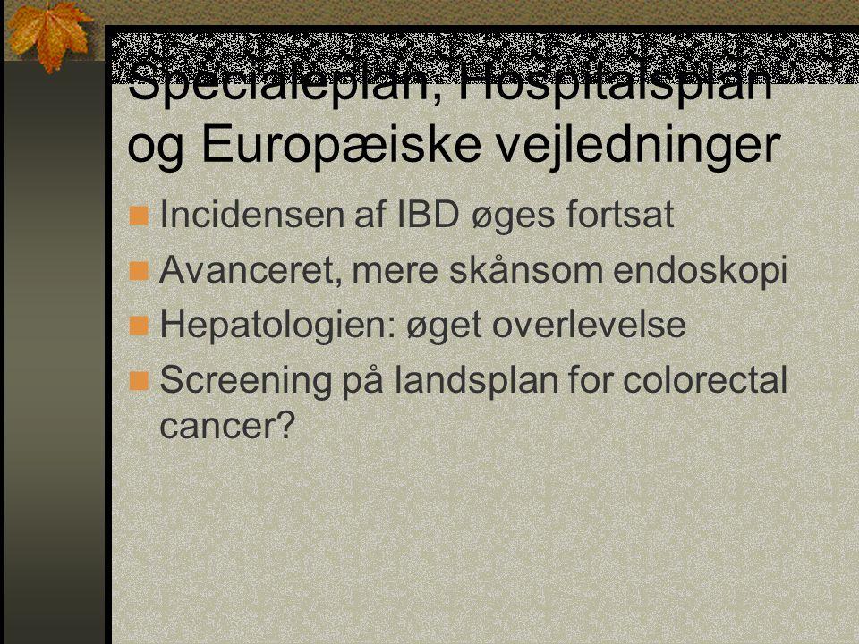 Specialeplan, Hospitalsplan og Europæiske vejledninger