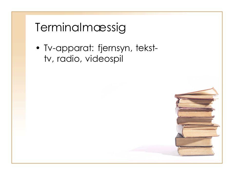 Terminalmæssig Tv-apparat: fjernsyn, tekst-tv, radio, videospil