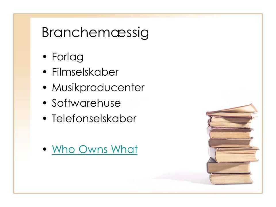 Branchemæssig Forlag Filmselskaber Musikproducenter Softwarehuse