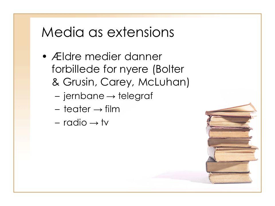 Media as extensions Ældre medier danner forbillede for nyere (Bolter & Grusin, Carey, McLuhan) jernbane → telegraf.