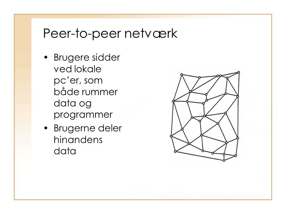 Peer-to-peer netværk Brugere sidder ved lokale pc'er, som både rummer data og programmer.