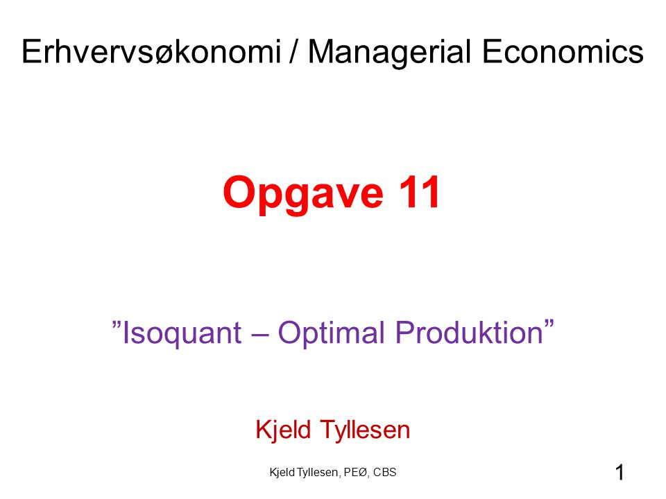 Opgave 11 Erhvervsøkonomi / Managerial Economics