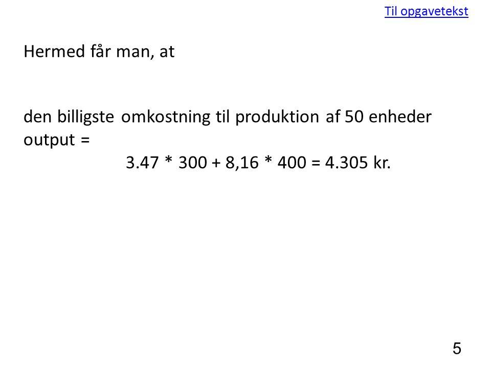 den billigste omkostning til produktion af 50 enheder output =