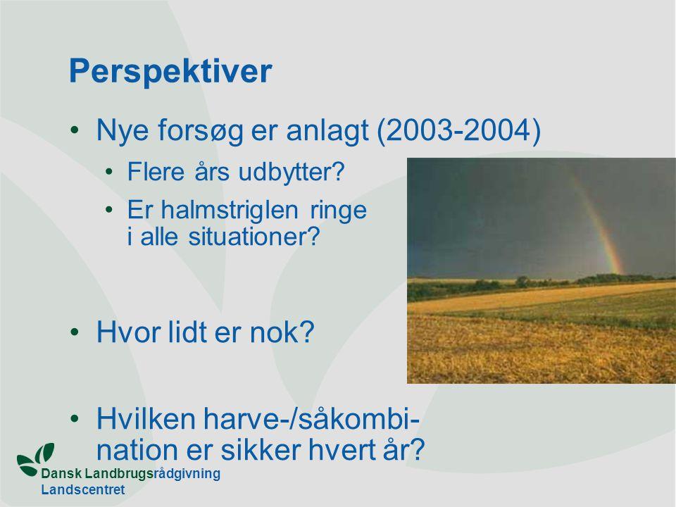 Perspektiver Nye forsøg er anlagt (2003-2004) Hvor lidt er nok