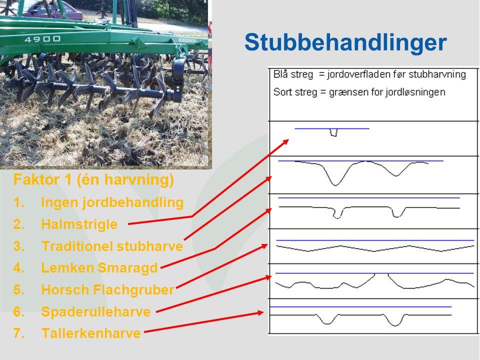 Stubbehandlinger Faktor 1 (én harvning) Ingen jordbehandling