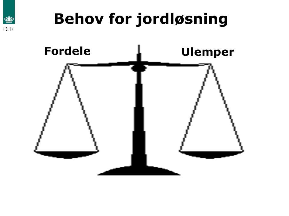 Behov for jordløsning DJF Fordele Ulemper