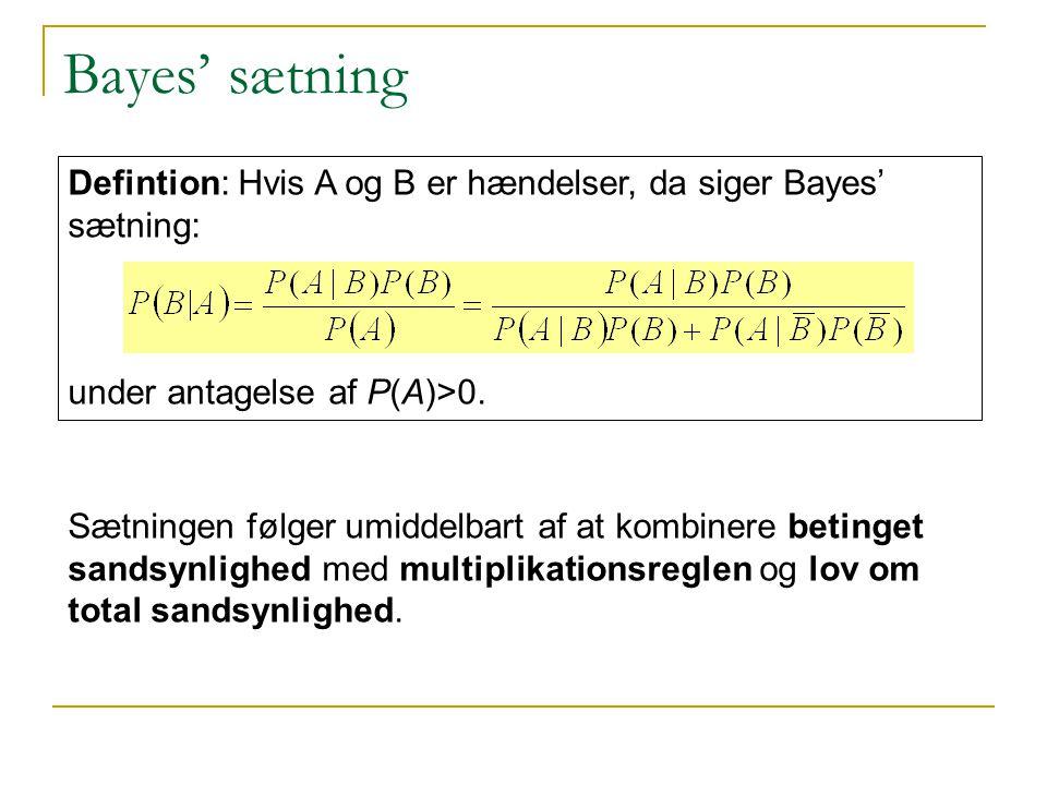 Bayes' sætning Defintion: Hvis A og B er hændelser, da siger Bayes' sætning: under antagelse af P(A)>0.