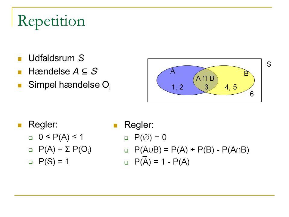 Repetition Udfaldsrum S Hændelse A ⊆ S Simpel hændelse Oi Regler: