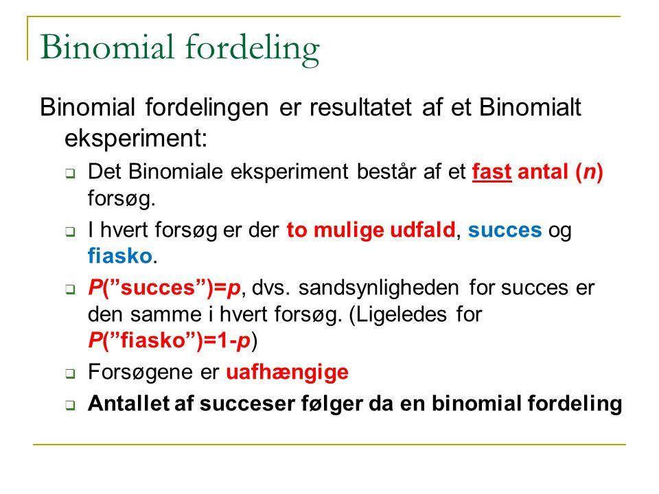 Binomial fordeling Binomial fordelingen er resultatet af et Binomialt eksperiment: Det Binomiale eksperiment består af et fast antal (n) forsøg.