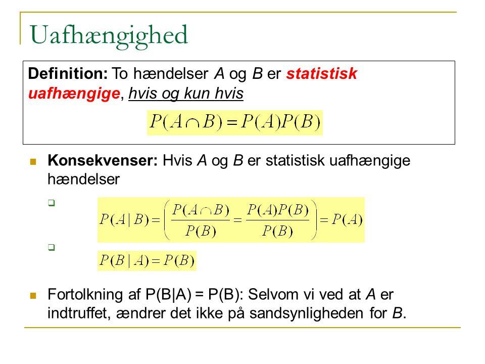 Uafhængighed Definition: To hændelser A og B er statistisk uafhængige, hvis og kun hvis.