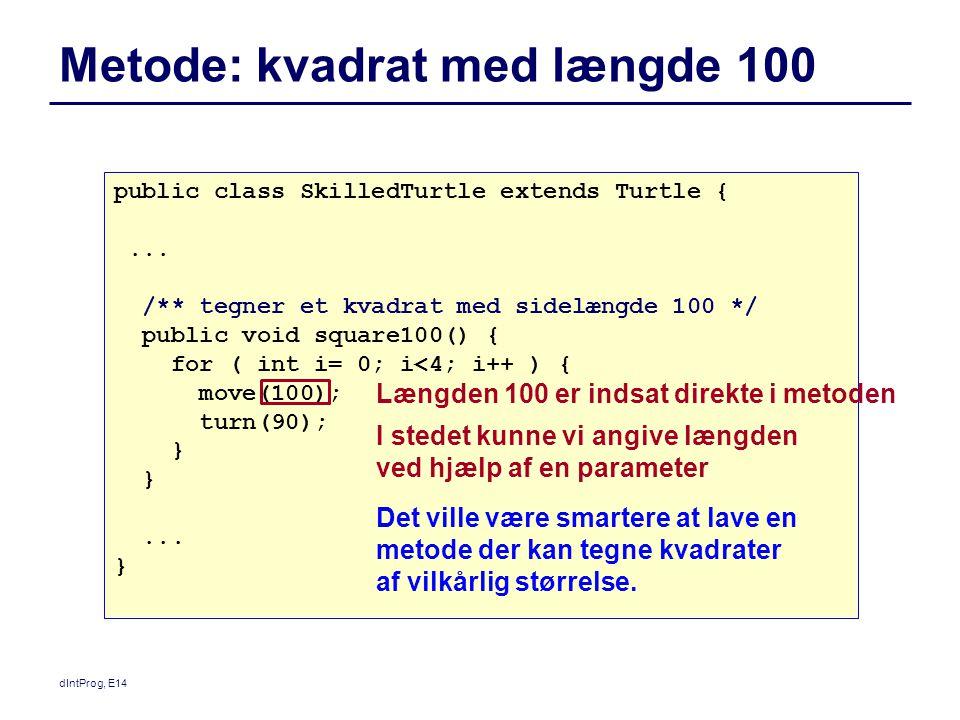 Metode: kvadrat med længde 100