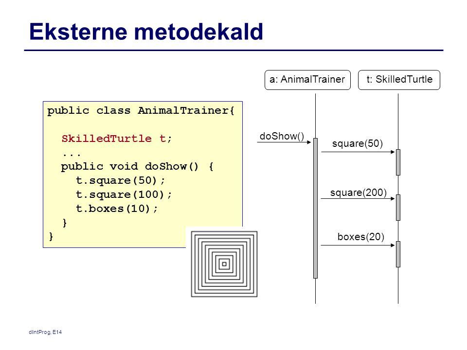Eksterne metodekald public class AnimalTrainer{ SkilledTurtle t; ...