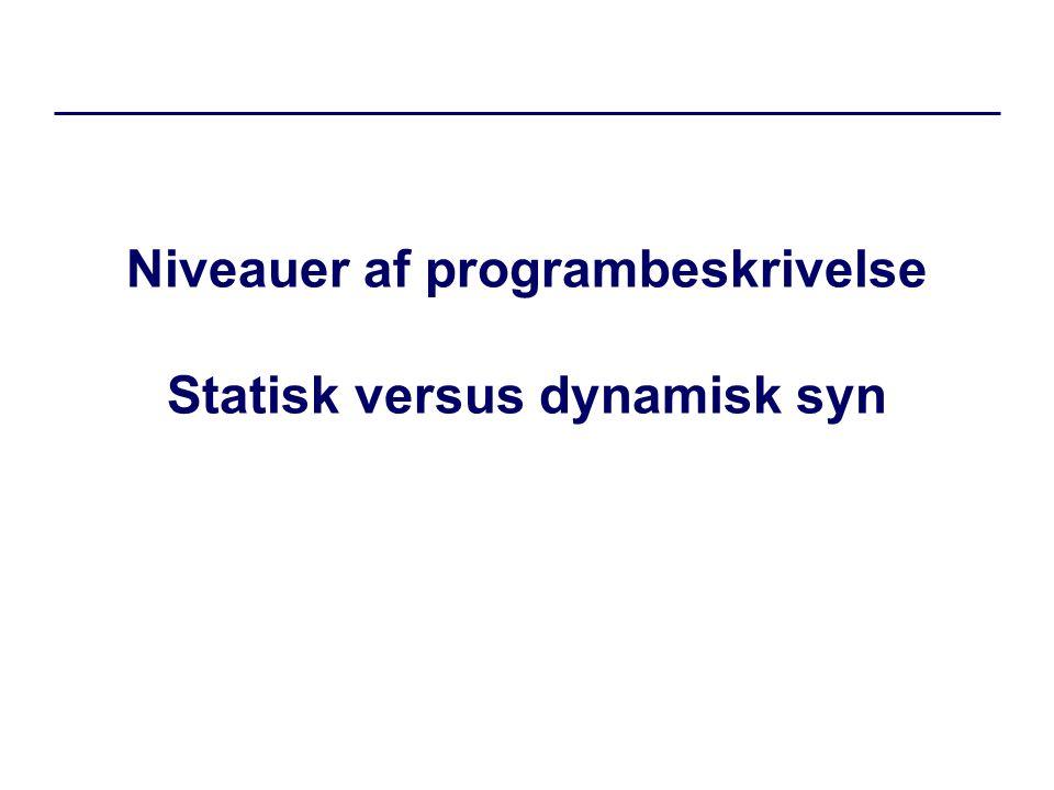 Niveauer af programbeskrivelse Statisk versus dynamisk syn