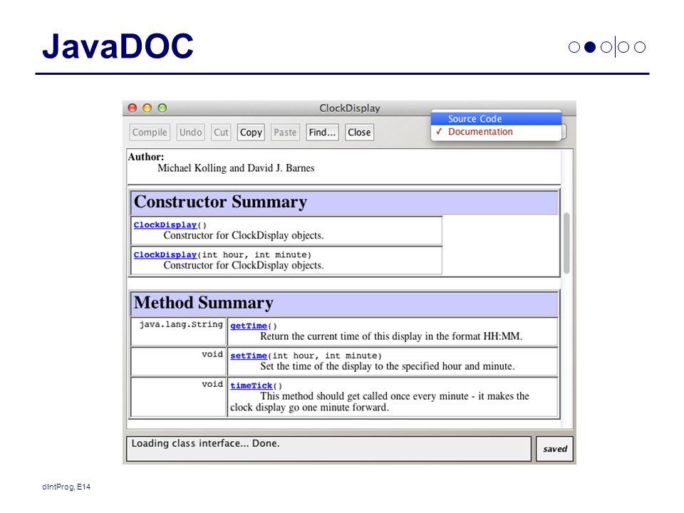 JavaDOC dIntProg, E14