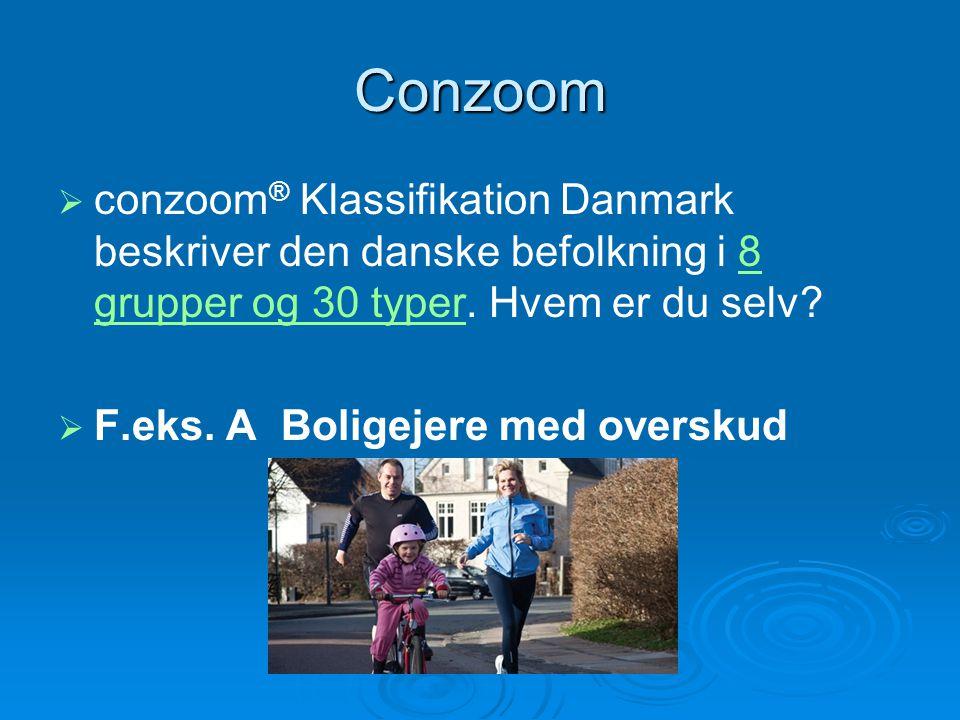 Conzoom conzoom® Klassifikation Danmark beskriver den danske befolkning i 8 grupper og 30 typer. Hvem er du selv