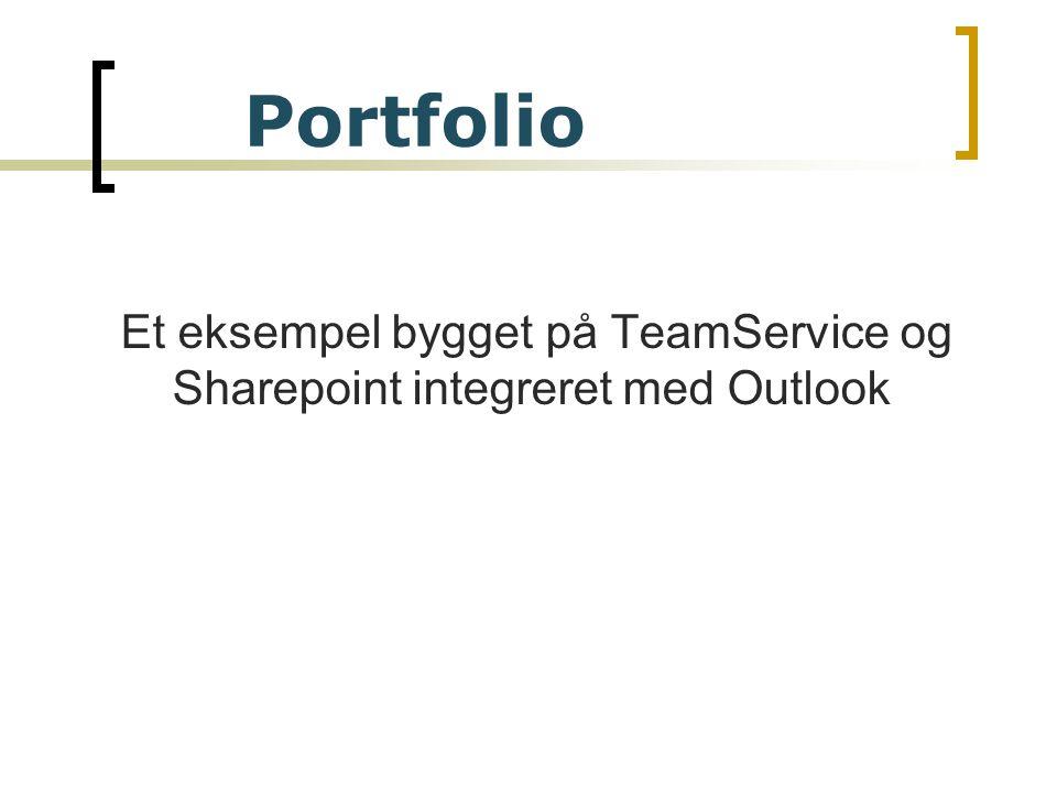 Et eksempel bygget på TeamService og Sharepoint integreret med Outlook