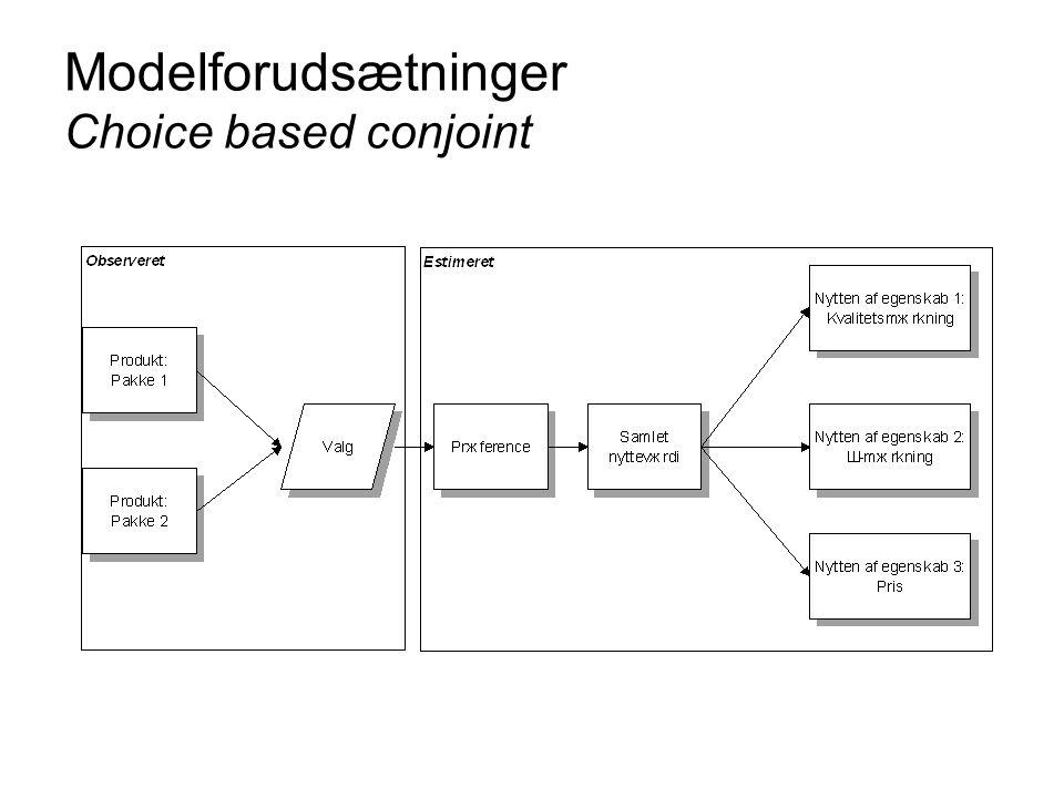 Modelforudsætninger Choice based conjoint