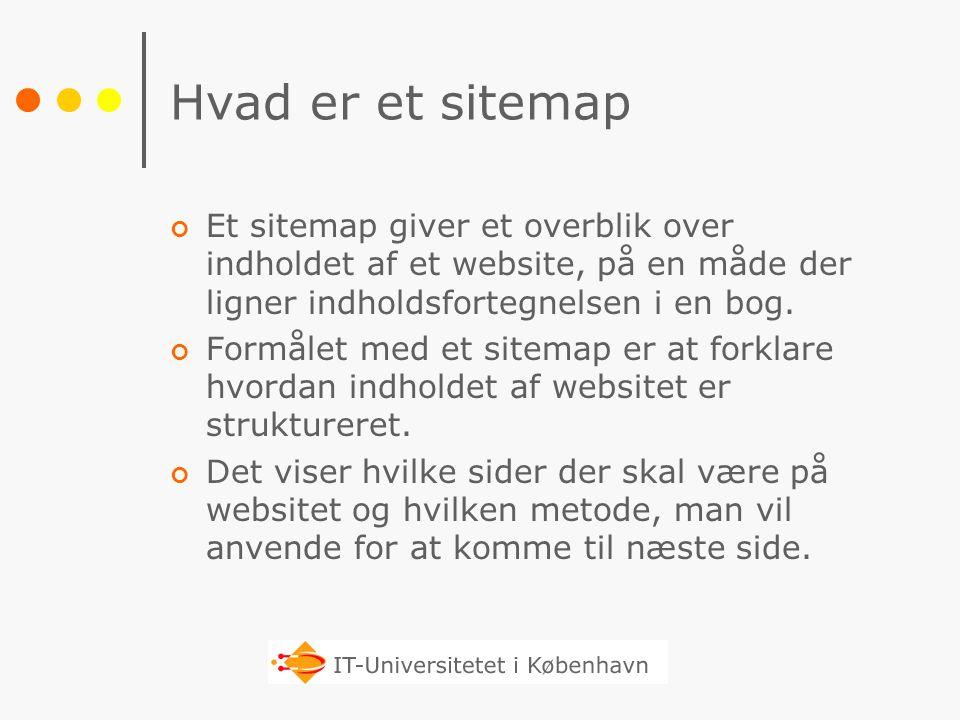 Hvad er et sitemap Et sitemap giver et overblik over indholdet af et website, på en måde der ligner indholdsfortegnelsen i en bog.