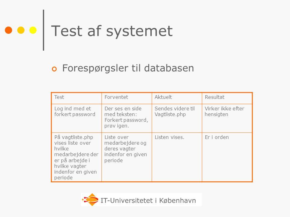 Test af systemet Forespørgsler til databasen Test Forventet Aktuelt