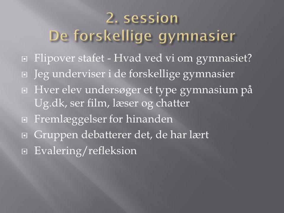 2. session De forskellige gymnasier