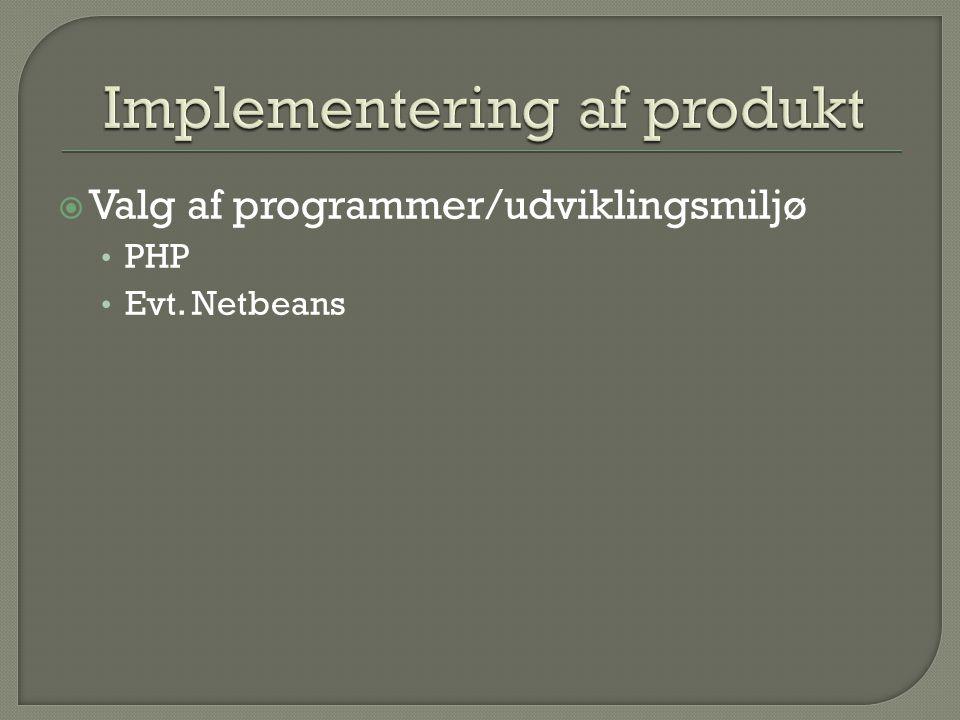 Implementering af produkt