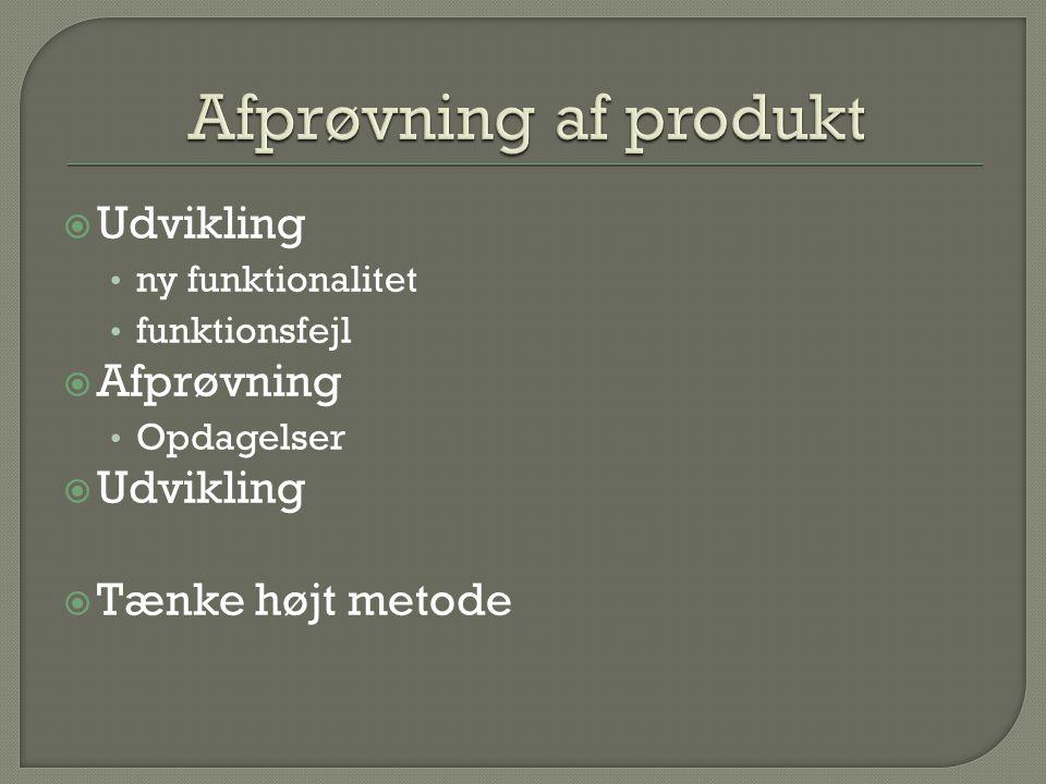 Afprøvning af produkt Udvikling Afprøvning Tænke højt metode