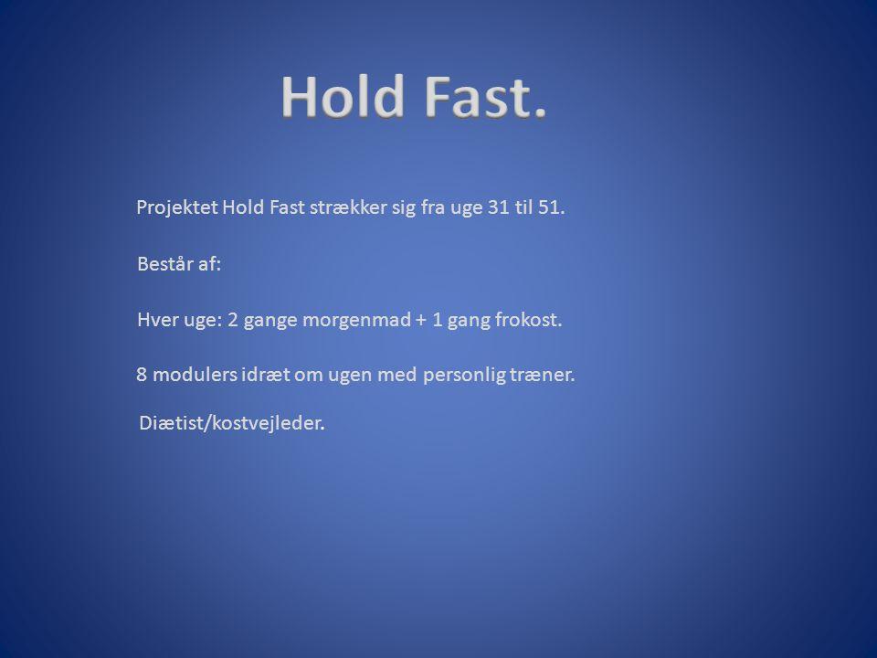 Hold Fast. Projektet Hold Fast strækker sig fra uge 31 til 51.