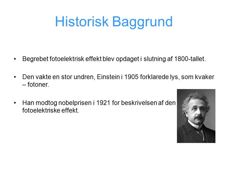 Historisk Baggrund Begrebet fotoelektrisk effekt blev opdaget i slutning af 1800-tallet.
