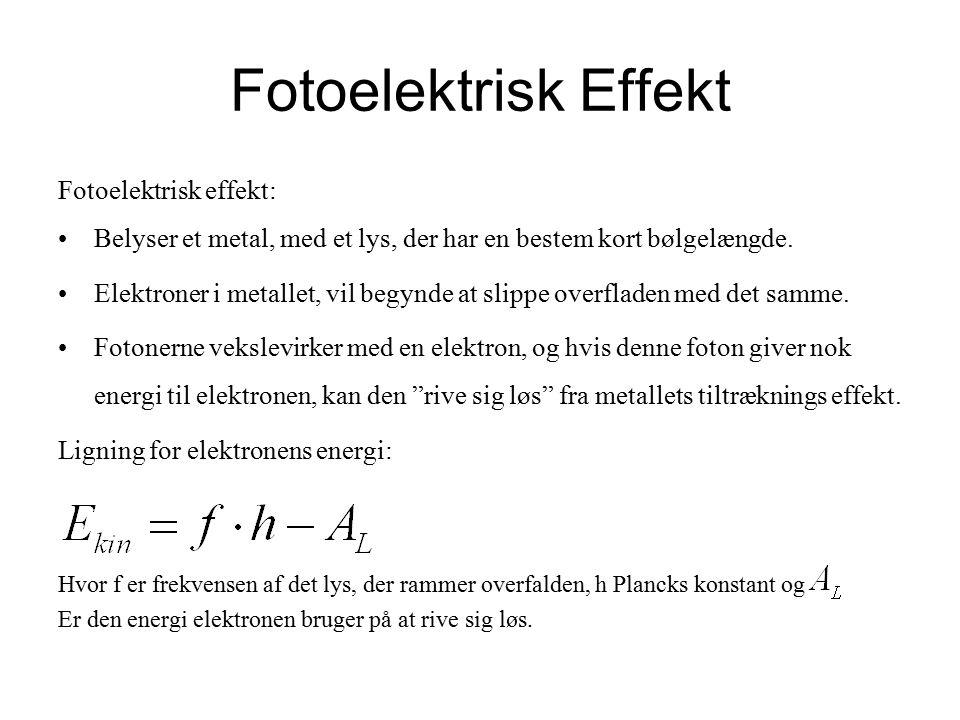 Fotoelektrisk Effekt Fotoelektrisk effekt: