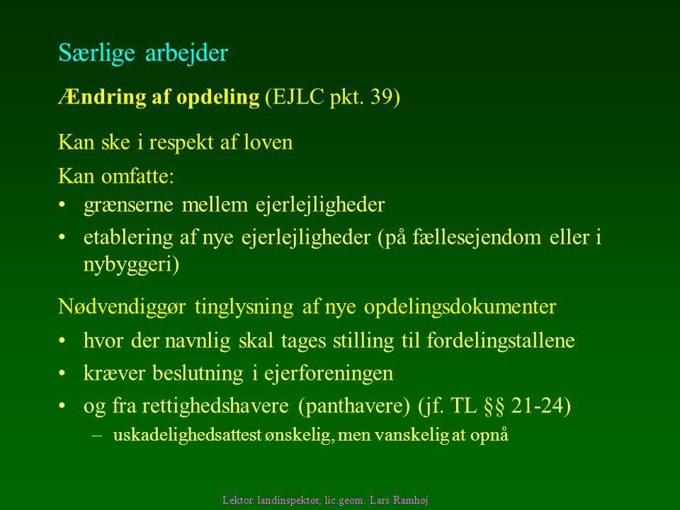 Særlige arbejder Ændring af opdeling (EJLC pkt. 39)
